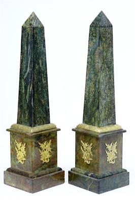 A Pair Of Marble And Ormolu Obelisks