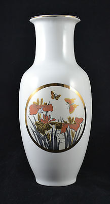 Asian White Copper Gold & Silver, China Porcelain Floral Butterfly and Iris Vase