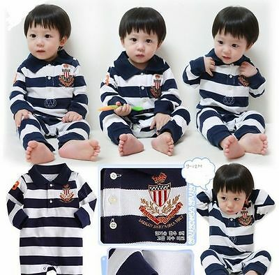 New Baby Boys Long Sleeves Navy Stripe One Piece Romper Outfit Size 0, 1, 2