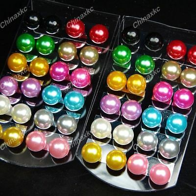 72pcs Wholesale Jewelry Lots Mix Color Pearl Stainless steel Stud Earrings