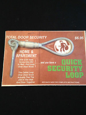 Total Door Security - Quick Security Loop - Spring Steel & Aircraft Cable NIB