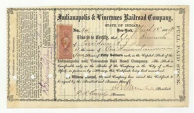 1869 Indianapolis & Vincennes RR Co. Signed by Andrew B