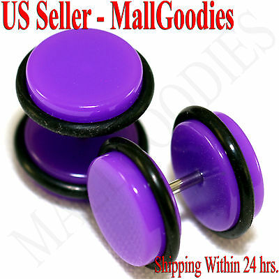 "V069 Fake Cheaters Illusion Plugs 4 2 0 00G 7//16 1//2/"" Violet Purple 8 10 11 12mm"