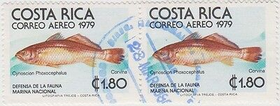 (CR123)1979 Costa Rica 1col80  corvina pair0ow1129