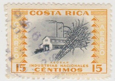(CR74)1954 Costa Rica 15c yellow air sugar SG522a