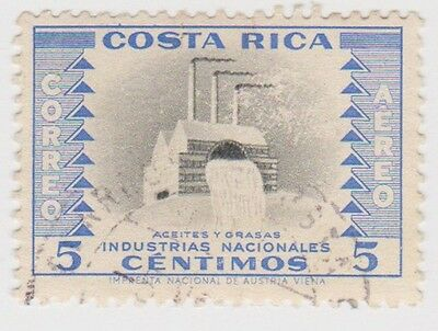 (CR75) 1954 Costa Rica 5c blue vegetable oil SG520a
