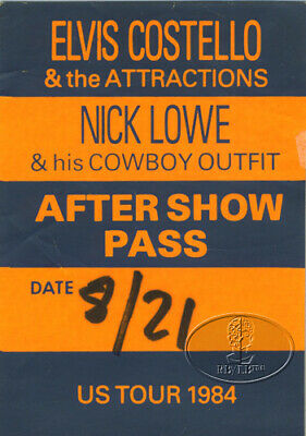 Elvis Costello & Nick Lowe 1984 Usa Tour Backstage Pass