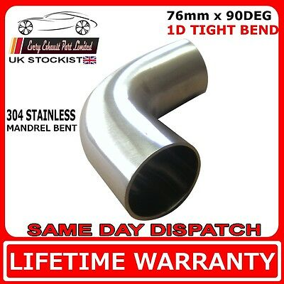 """76mm (3"""") 90 degree tight 1D t304 stainless exhaust mandrel bend tube pipe bend"""