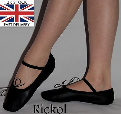 New Black Leather Ballet Dance Slippers Gymnastic Shoes Adults Women Men Sizes