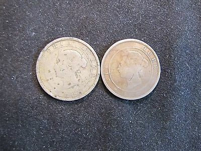 Lot of 2 Jamaican 1 Penny Coins - 1869 & Unreadable Jamaica
