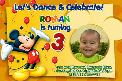 23 designs ! MICKEY DISNEY 1ST BIRTHDAY PARTY INVITATION ng PHOTO CUSTOM INVITE