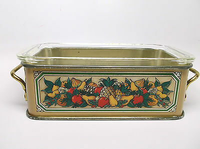 1981 Pyrex Bread/Loaf Pan W/ Teleflora Decorative Metal Holder - Made in England