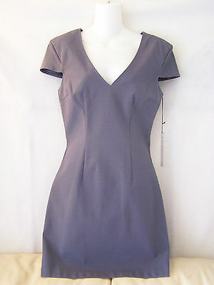 New!~Nwt~Maria Bianca Nero~Blue Gray Cap Sleeve V-Neck Dress~Womens Size Large/l