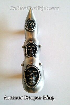 Pointed Hinged Armour Pewter Ring with Skull Faces - Gothic - Wicca - Rock - New