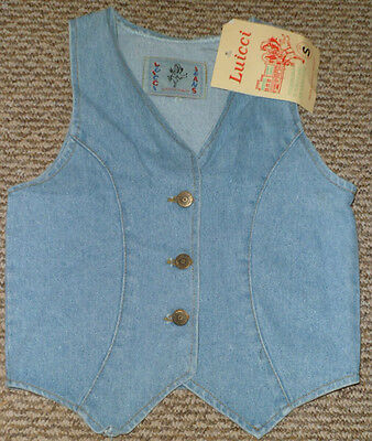 "New Girls Casual Denim Waistcoat Sizes 28-30""  Or 34"" Chest"