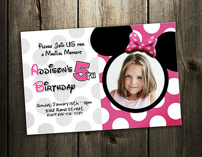 8 designs! MINNIE MOUSE BIRTHDAY PARTY INVITATION photo pink CARD INVITE dots