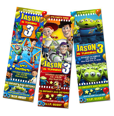 12 designs !! TOY STORY BIRTHDAY PARTY INVITATION TICKET 1 2 3 DISNEY card baby