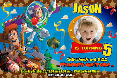 10 designs !! TOY STORY BIRTHDAY PARTY INVITATION PHOTO cards 1ST - 1 2 3 buzz
