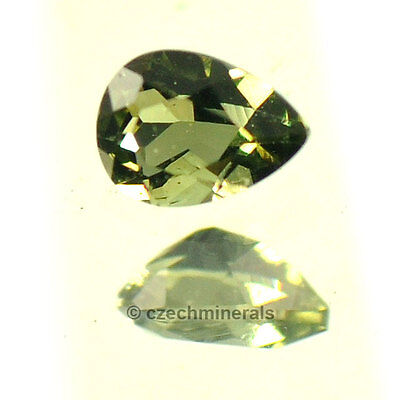 0.136cts pear 3x4mm normal cut moldavite faceted cutted gem BRUS590