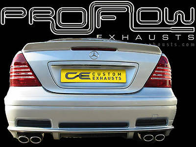 Mercedes C-Class Stainless Steel Custom Built Exhaust Back Box Twin Tail Pipes