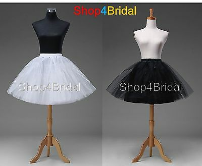 White Blac​k Knee Length Wedding Dress Underskirt Crinoline Petticoat Slips