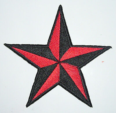 BRIGHT RED 1.5 inch iron on nautical star patch applique rockabilly punk - 125