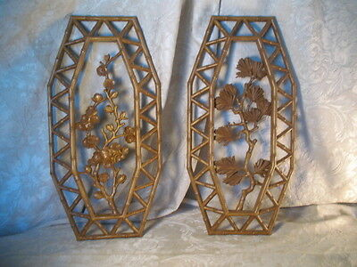 2 Vintage 1977 Homco Wall Hanging Plant Floral Motiff Plaques Plastic