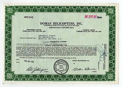 Doman Helicopters, Inc. stock certificate