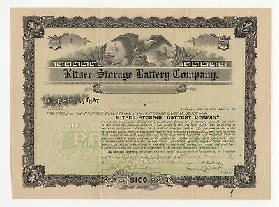Kitsee Storage Battery Company stock certificate