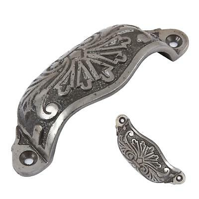 Cast Iron Cabinet Cup Pull Drawer Handle Front Fixing New