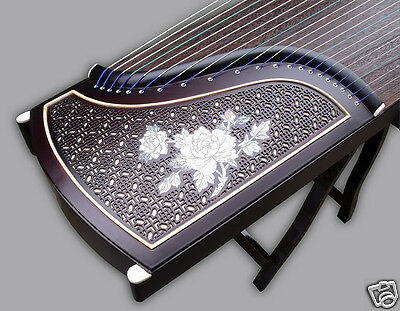 Exquisite Carved Purple Sandalwood Guzheng Instrument Chinese Zither Koto