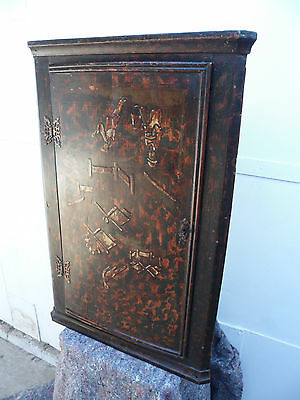The Most Wonderfully Painted Dutch Antique Pine Small Corner Cupboard c1780s