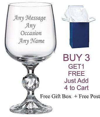 Personalised Engraved Crystal Wine Glass 40th 50th 60th Birthday Gift Free Box