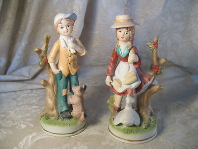 2 Vintage Porcelain Bisque Boy with Puppy & Girl with Goose Figurines