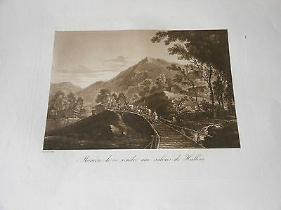 1825 Beautiful Copper Engraving Aquatint Austria Salt Mines Of Hallein N1