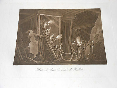 1825 Beautiful Copper Engraving Aquatint Austria Salt Mines Of Hallein N2