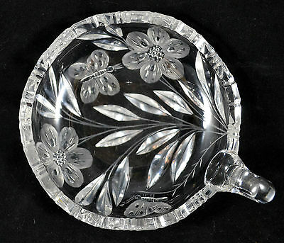 ABP American Brilliant Pairpoint Murillo Butterfly Clear Cut Glass Nappy Bowl
