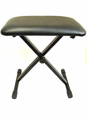 PRO KEYBOARD / PIANO BENCH adjustable height padded stool seat X frame folding