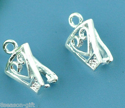 HX 20 Silver Plated Heart Pinch Bail Findings 12x8mm