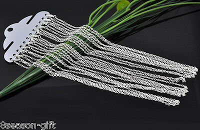 """12PCs Antique Silver Plated Lobster Claw Clasp Link Chain Necklaces Pendants 18"""""""