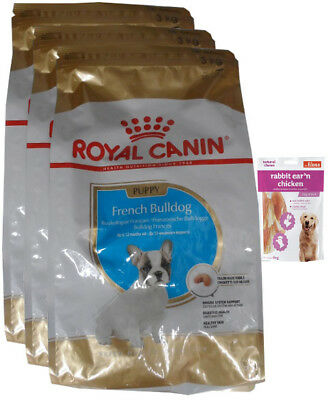 3x3kg Royal Canin French Bulldog Junior + 80g Fleischsnacks