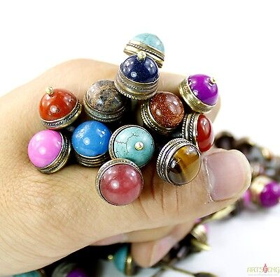 #ZSG001 D14mm ONE PIECE COLORFUL STONE INLAYED BRASS STOPPER FOR SNUFF BOTTLE
