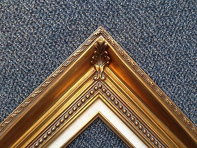 "4.25""  Gold Leaf Wood Antique Picture Frame wide photo art gallery B4gL"