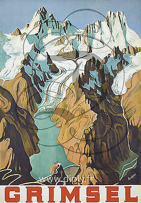 Reproduction Affiche Grimsel Montagne Neige Satine 190 Grs