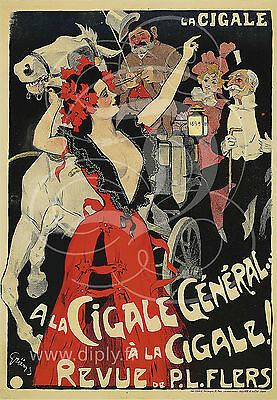 Reproduction Affiche La Cigale General Revue Flers Papier Satine 190 Grs