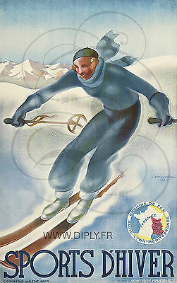 Reproduction Affiche Sports Hiver 1931 Papier Satine 190 Grs