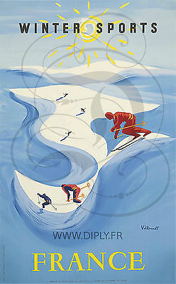 Reproduction Affiche Winter Sports France Papier Satine 190 Grs