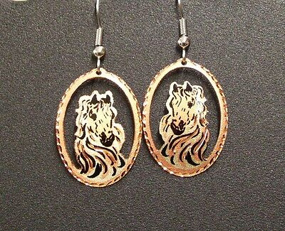 Hand Made Copper Western Design Dangle Earrings Horse with Flowing Mane Oval