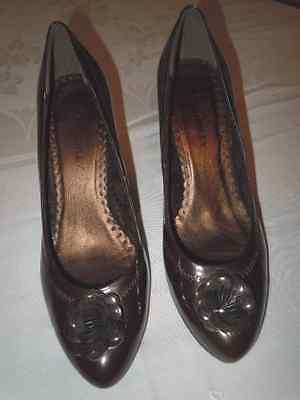 "Laura Ashley ""Labetsy"" Adorable Brown Patent Leather Pumps, 7.5 M, Nwob!!"