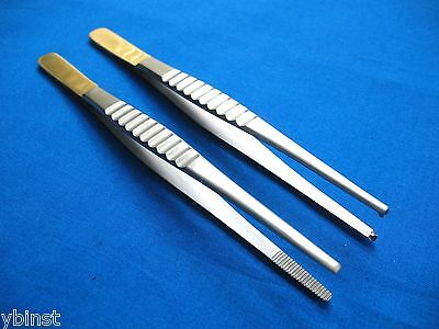 2 Pcs Thumb Dressing+Tissue 1X2T Forceps With Gold Handle Surgical Instrument